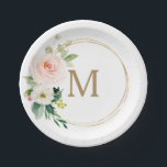 """Blush Floral Monogram Bridal Shower Paper Plate<br><div class=""""desc"""">These paper plates are perfect for any event!</div>"""