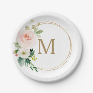 blush floral monogram bridal shower paper plate