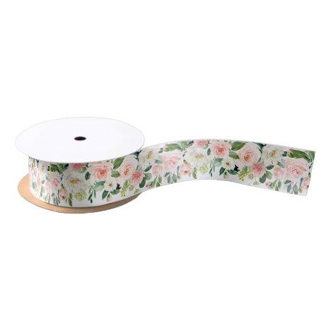 Blush Floral Satin Ribbon