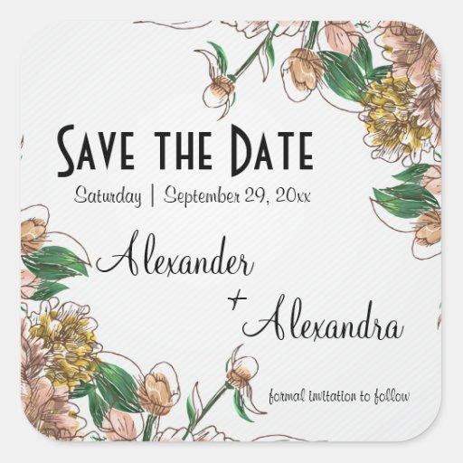 Blush Floral Save The Date Wedding Sticker