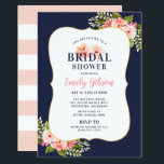 "Blush Floral Watercolor with Navy Bridal Shower Invitation<br><div class=""desc"">Wedding bridal shower invitation design features stylish pink and midnight / navy blue text that can be fully personalized for your event, framed by a pretty watercolor floral arrangement with green foliage and pastel pink, blush, and peach spring dahlia and rose flowers. A pattern of wide white horizontal stripes dress...</div>"