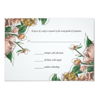 Blush Floral Wedding RSVP Response Card Announcements