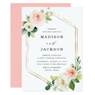 Blush Florals | Gold Frame Wedding Invitation