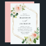 "Blush Florals | Gold Frame Wedding Invitation<br><div class=""desc"">Elegant spring floral wedding invitation featuring your names and wedding details framed by faux gold foil geometric accents,  blush watercolor flowers and lush green leaves. A modern choice that is perfect for spring and summer weddings.</div>"