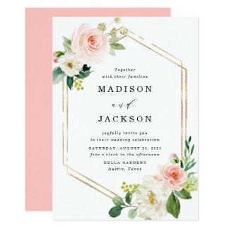 Blush Florals | Gold Frame Wedding Invitation