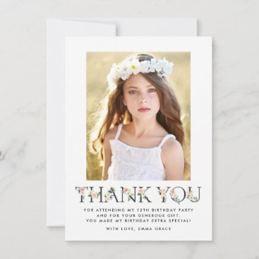 Blush Florals | Photo Birthday Thank You Card