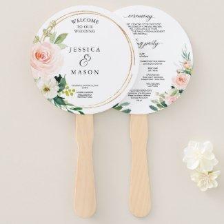 Blush Florals Round Gold Wedding Program Fan