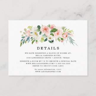 Blush Florals | Wedding Details Card