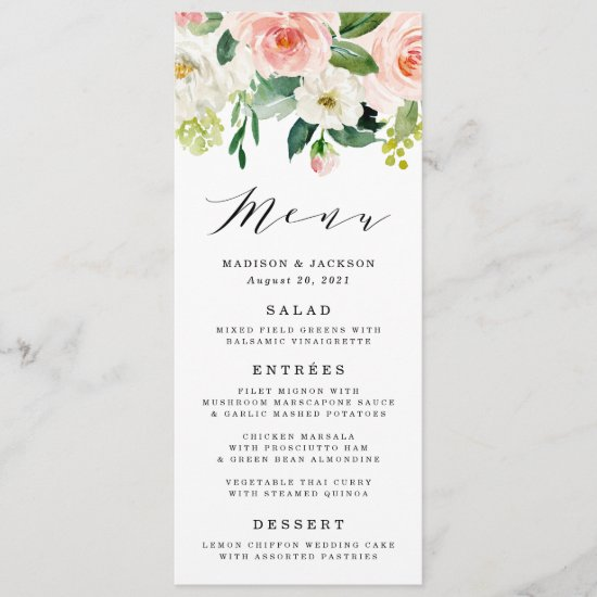 Blush Florals | Wedding Menu Card