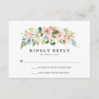 Blush Florals | Wedding RSVP Card