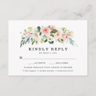Blush Florals | Wedding RSVP Card With Meal Choice