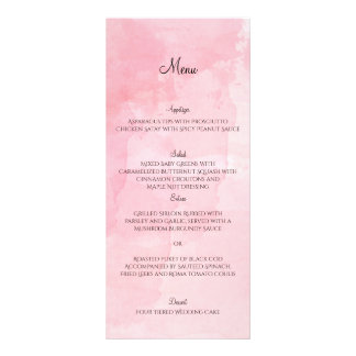 Blush Flower Watercolor Wedding Menu