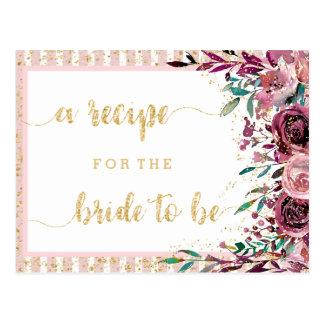 Blush Flowers Stripes Bridal Shower Recipe Card