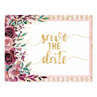 Blush Flowers Stripes & Gold Wedding Save the Date Postcard