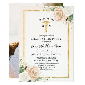 Blush & Foil Gold Nursing School Grad Party Photo Card