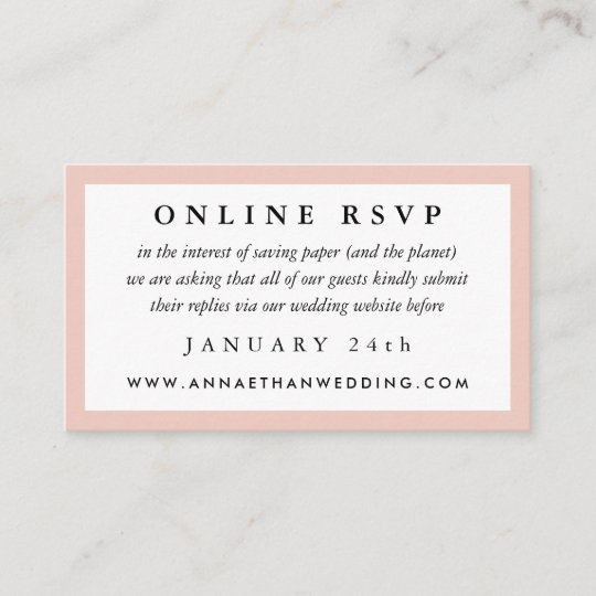 Blush Frame Wedding Online Rsvp Card