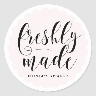 Blush Freshly Made Modern Calligraphy Business Classic Round Sticker