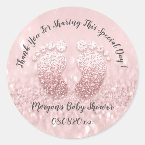 Blush Glitter Feet Baby Shower Favor Thank You Classic Round Sticker