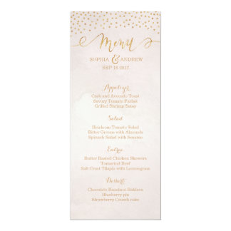 Blush glitter rose gold calligraphy wedding menu card