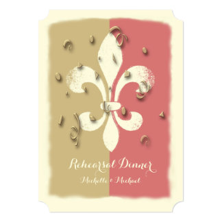Blush Gold Confetti Fleur de Lis event Invitation
