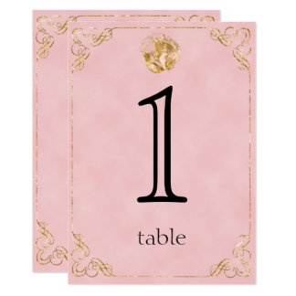 Blush Gold Cotton 2nd Anniversary Table Number