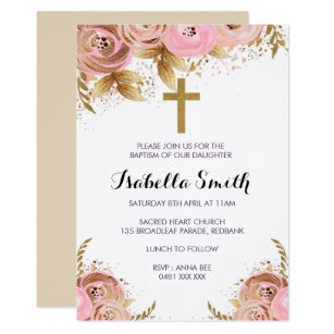 Floral Baptism Christening Invitations Zazzle