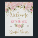 "Blush Gold Floral Bridal Shower Welcome Sign Decor<br><div class=""desc"">Feminine blush pink and gold bridal shower welcome sign featuring blush watercolor flowers and faux gold confetti</div>"