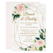 Blush Gold Floral Brunch And Bubbly Bridal Shower Invitation at Zazzle