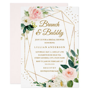 44187b944d7b Blush Gold Floral Brunch And Bubbly Bridal Shower Invitation