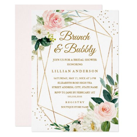8d5fae1d21d43 Blush Gold Floral Brunch And Bubbly Bridal Shower Invitation
