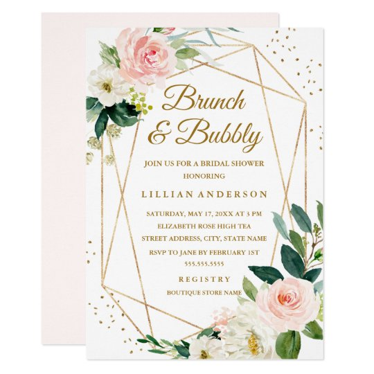 05c7f8202323 Blush Gold Floral Brunch And Bubbly Bridal Shower Invitation ...