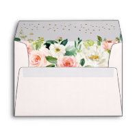 Blush Gold Floral Pink Envelope