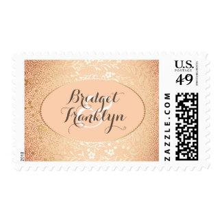 blush gold floral vintage wedding postage stamp