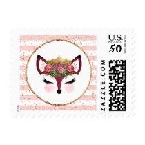 Blush & Gold Fox Princess Postage