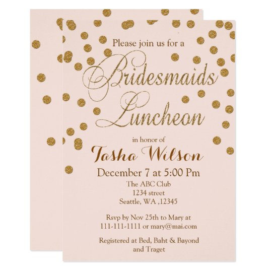 blush gold glitter bridesmaids luncheon invites zazzle com