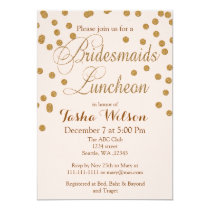 Blush Gold Glitter Bridesmaids Luncheon invites
