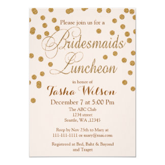 Blush Gold Glitter Bridesmaids Luncheon invites