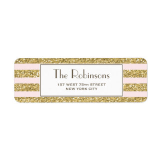 Blush Gold Glitter Stripes Address label