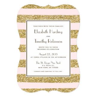 Blush Gold Glitter Stripes Wedding Invitation
