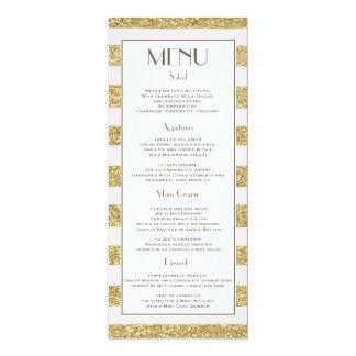 Blush Gold Glitter Stripes Wedding Menu Card