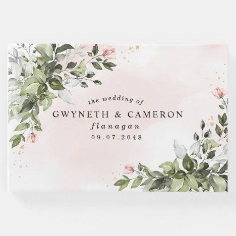 Blush Gold Greenery Succulent Dusty Blue Wedding Guest Book