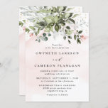 """Blush Gold Greenery Succulent Dusty Blue Wedding Invitation<br><div class=""""desc"""">Design features light or blush pink watercolor splashes with printed gold simulated flecks. Design also features blush pink rose floral elements within a greenery bouquet or wreath. The wreath contains a succulent, eucalyptus and other greenery elements in shades of dark emerald green, sage green, dusty blue and more to fit...</div>"""