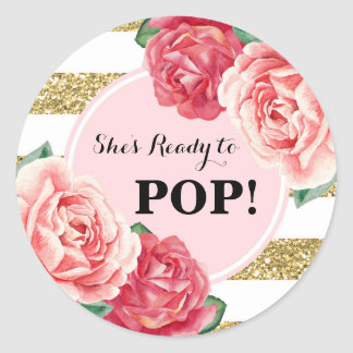 Blush Gold Pink Floral Baby Shower Ready to Pop Classic Round Sticker