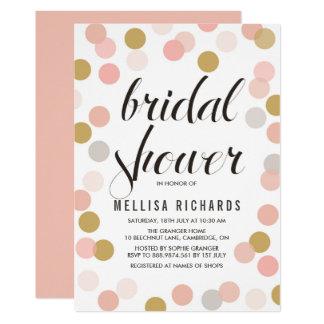 Blush & Gold Polka Dots Bridal Shower Invitation