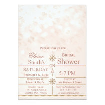 blush Gold snowflakes Winter Bridal shower Invite