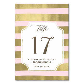 Blush Gold stripes Table number Card