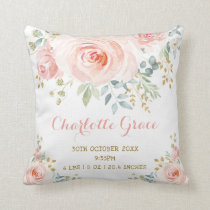 Blush Gold Watercolor Floral Birth Stats Nursery Throw Pillow