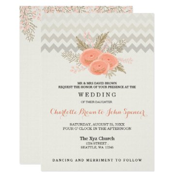 blush gold watercolor floral wedding card
