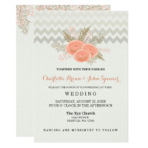 blush gold watercolor floral wedding invitations