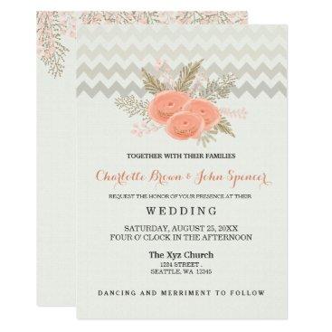 blush gold watercolor floral wedding invitations